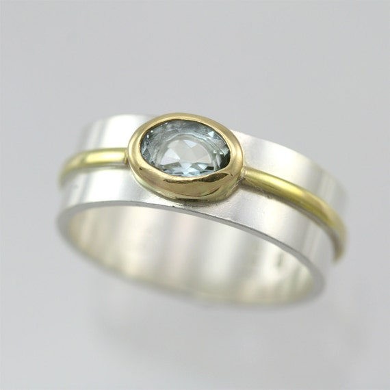 1 Stone Oval Wrap Ring 14K (Aquamarine) (Made to Order)