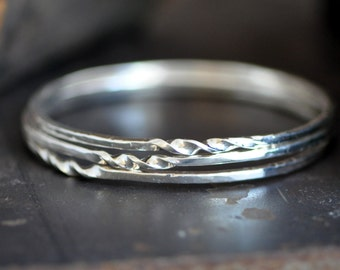 Hand wrought twist bangle set,  forged sterling bracelet