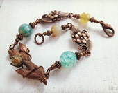 Metal clay and copper bracelet with fire agate beads,  soft Spring colors