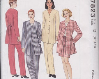 McCall's 7823 Misses' Unlined Asian Jacket, Top, Pull-On Pants and Pull-On Shorts Sizes 12, 14, 16  UNCUT Pattern Rare and OOP