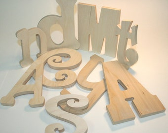 Large Unpainted Wooden Letters