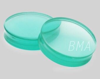 """1 & 1/4"""" Aqua Glass Plugs (32mm)"""