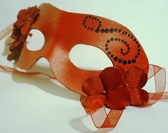 Red Leather Mask with Black and Flower Accents