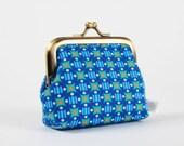 Metal frame change purse - Stella outremer - Deep mum / Petit Pan french fabric / monaco blue / neon orange / geometric blue dots