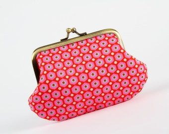 Metal frame coin purse - Petit Pan Mikko red - Daddy purse / french fabric / neon pink red teal / white dots / geometric / modern