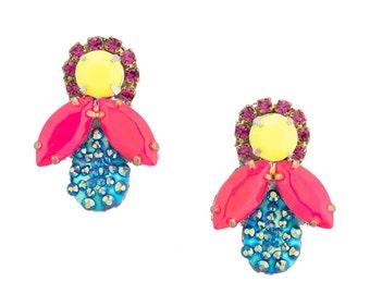 SALE- Honey Bee Earrings- Neon