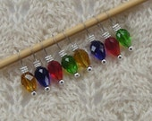 knitting stitch markers - Christmas Lights - holiday knitting - snag free  - set of 8 - three loop sizes available