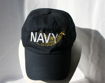 HAT - Navy - Military - Veteran - Stars - USA - 6 panel - Fitted - One size - Embroidery