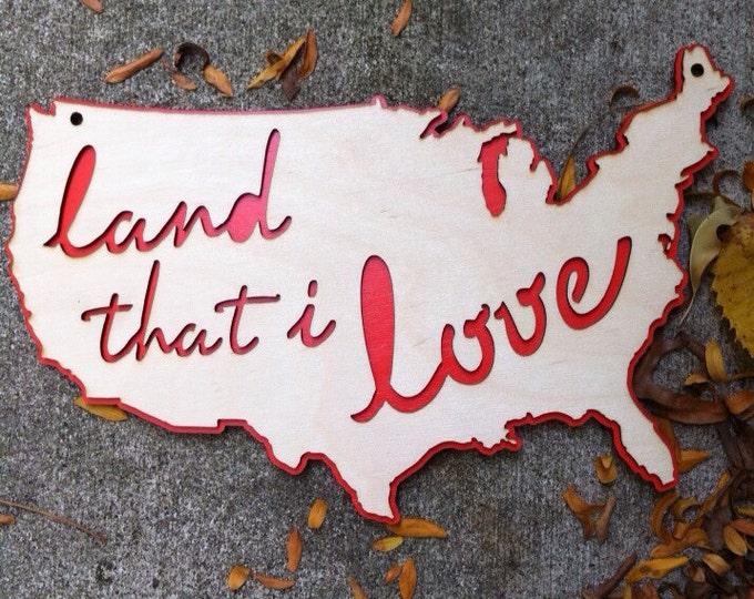 Americana wall hanging, wood USA decor laser engraved