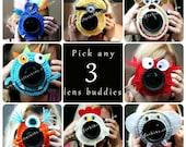 BLACK FRIDAY SALE! Deal on 3! Camera lens buddy. Crochet lens critter. Photographer helper.