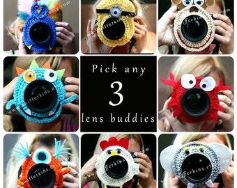 Deal on 3! Camera lens buddy. Crochet lens critter. Photographer helper.