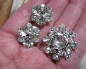 Vintage clear crystals flower Bogoff brooch, Bogoff crystal pin, bride's Bogoff pin, pin and crystal clip earrings set