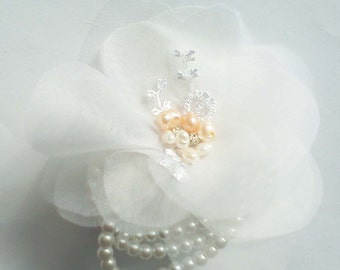 silk flower wrist corsage white or custom color