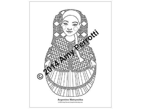 Argentine Matryoshka Coloring Sheet Printable file