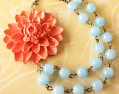 Beaded Necklace Flower Necklace Bridesmaid Jewelry Coral Jewelry Statement Necklace Mint Jewelry Christmas Gift