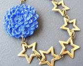 Star Necklace Flower Necklace Star Jewelry Bib Necklace Statement Necklace Navy Blue Jewelry