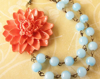 Beaded Necklace Flower Necklace Bridesmaid Jewelry Coral Jewelry Statement Necklace Mint Jewelry Gift For Her