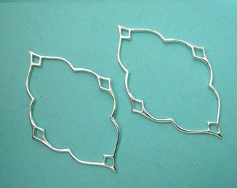 Sterling Silver Nimbus Link Connector Pendant Earrings, Arabesque Links, 25x38mm, 2 PCs
