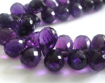 Amethyst Faceted Teardrop Briolette, AAA, Matched Pair, 2 PCS, High Quality, Brides, Feburary Birthstone, 9x6-10x6mm