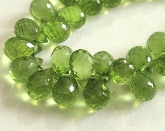 PERIDOT Briolettes, Faceted Teardrop Brios, Brides -2 Pcs, MATCHED PAIRS,  August Birthstone,  Wholesale Beads, 8-9mm