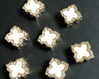8 pcs - White Enamel Rhinestone Clover Connector, charm pendant.  gold plated pewter
