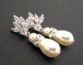 Pearl earrings, Bridal earrings, Crystal stud earrings, Wedding earrings, Bridal jewelry, Cubic Zirconia earrings, Dangle earrings, EMMA