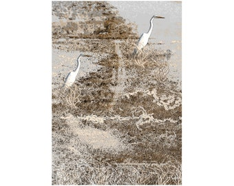 Bird Art, White Herons On The Beach, Sepia White And Gray, Wildlife Wilderness, Lake Texoma, Rustic Home Decor, Giclee Print, 8 x 10