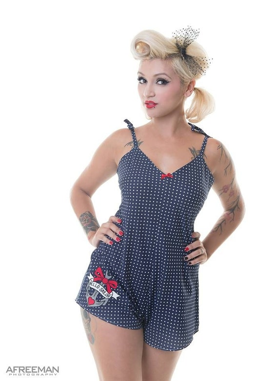 1940s Style Shorts Nauctical Playsuit Anchor Romper Suit Retro Pyjamas Polka Dot Playsuit Nautical Pyjamas Made To Order in Sizes XS - L  AT vintagedancer.com