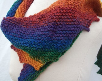 True Rainbow asymmetrical scarf, hand knit, machine washable, reduced and ready to ship!