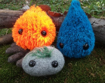 Elementals plush toy set, fire, earth, water stuffed animals, fire toy, earth toy, water toy, elementals stuffed animal set, made to order
