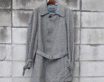 Pendleton Wool Coat Vintage 1970s Houndstooth trench over Jacket Men's