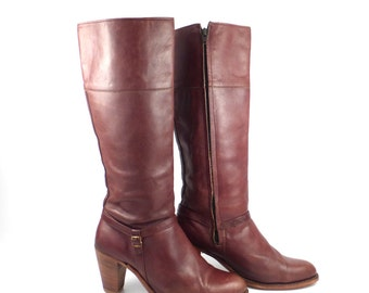 Frye Boots  Vintage 1980s Stacked Heel Brown Leather Women's size 10 B