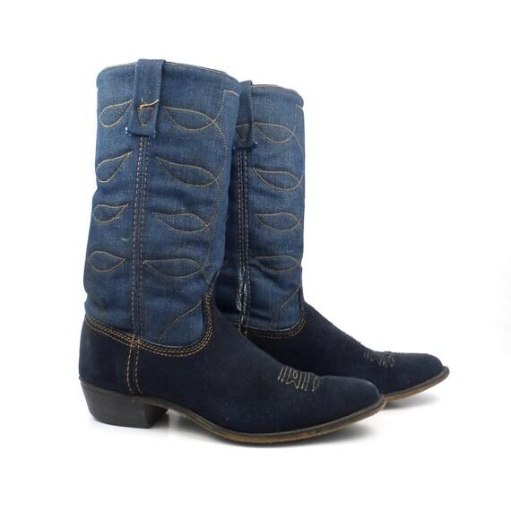 denim cowboy boots vintage 1970s acme blue suede leather