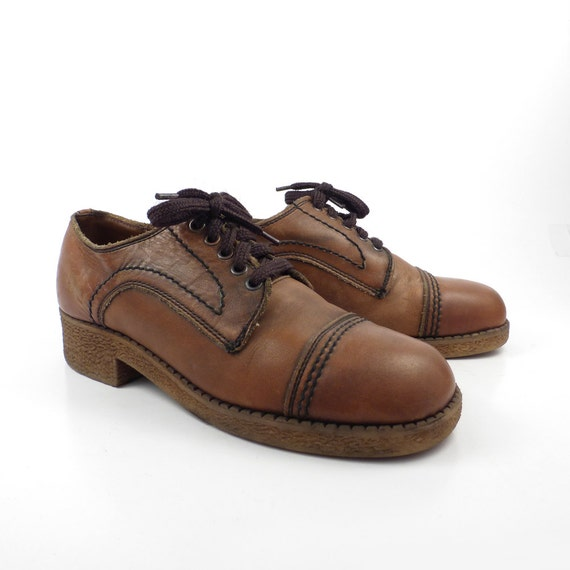 platform shoes vintage 1970s whiskey brown by