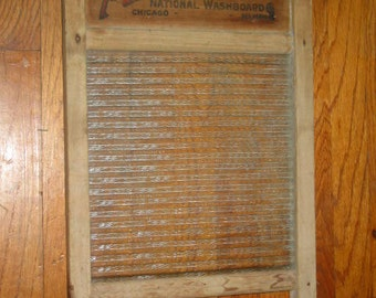 antique glass Atlantic National Washboard Chicago Memphis No 510 washing laundry