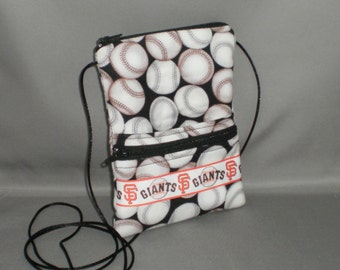 Travel Purse - Sling Bag - Passport Purse Wallet - Small Mini Purse - Wallet on a String - Giants - Baseball