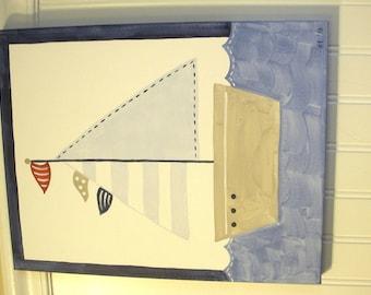 Boy sailboat painting 11 x 14 Original handmade Nautical Navy blue sail boat room decor Baby shower nursery Children wall art Kid bedroom