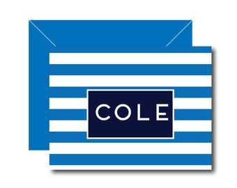 Personalized Folded Note Cards - STRIPES Collection