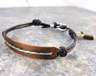 Womens Bracelet, Copper, Sterling Silver, tiger eye stone, Leather, Gift, Birthday, Anniversary, Christmas
