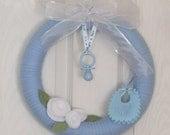 Wreath Baby Announcement, Boy Wreath, Baby Shower, Blue Wreath, Yarn Wreath