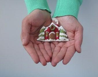 Christmas Tree Ornament, Fiber Art Christmas Tree and House, Folk Art Christmas Tree and House