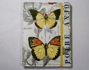 Kindle cover Hardcover, Kindle Paperwhite Cover, iPad Mini, Nook Tablet Cover,  Book Style, French Journal Butterflies