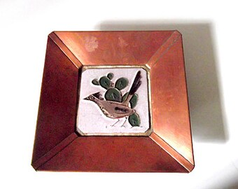 Vintage Gila Art Pottery and Copper Road Runner Tile, Southwestern