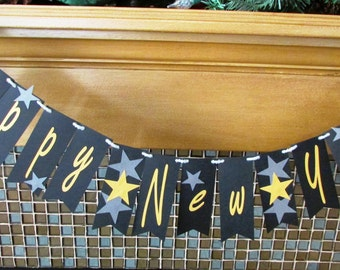 Happy New Year Banner - Garland- Photo Prop - New Year Party 2016 - Gold and Silver