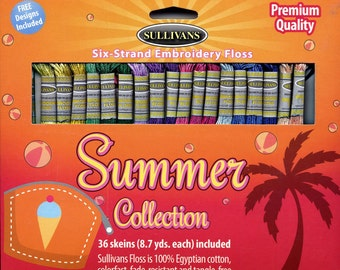 Sullivans Six-Strand Embroidery Floss Pack - Summer Collection, 36 skeins