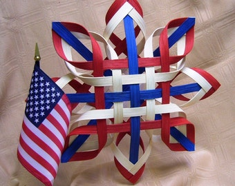 Star Of America - Hand Woven  Patriotic Star - Red White and Blue Star