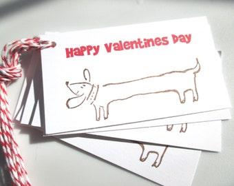 Hot Dog Valentine Tags, Dachsund Valentine Tags, Happy Valentine's Day tags