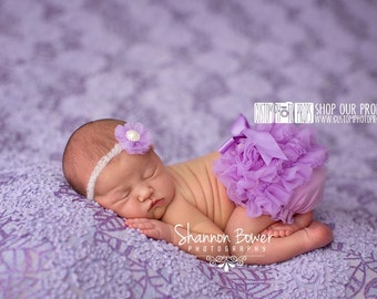 RTS Pastel Purple Ruffle Diaper Cover, Summer Purple Newborn Baby Girl Photography Props & Headband SET, Newborn Photo Props, Bloomers