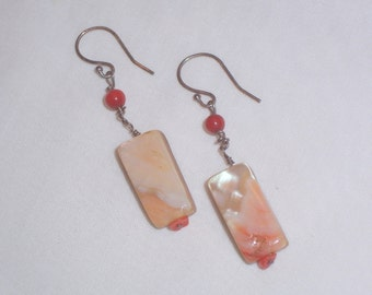 Handmade Abalone and Coral Earrings with Sterling Wires
