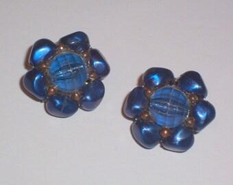 Vintage Earrings In Dark Blue Color - Clip Ons